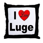 I Love Luge Throw Pillow