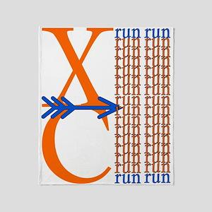 XC Run Orange Royal Blue Throw Blanket