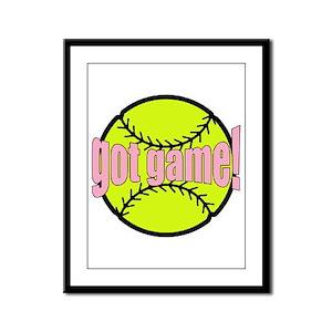 Girls Softball Framed Panel Print