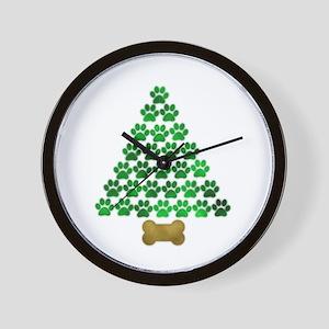Dog's Christmas Tree Wall Clock
