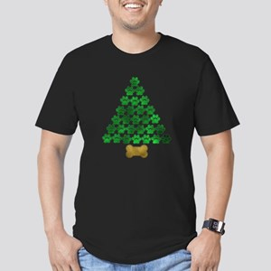 Dog's Christmas Tree Men's Fitted T-Shirt (dark)