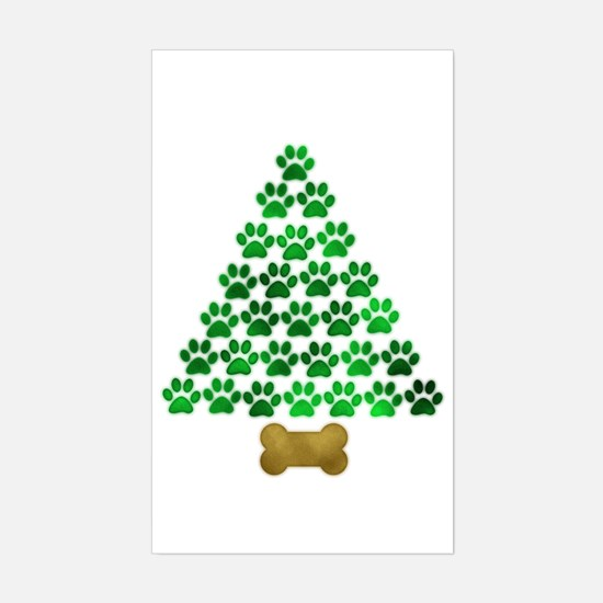 Dog's Christmas Tree Sticker (Rectangle)