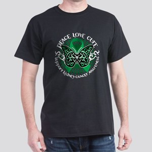 Kidney Cancer Tribal Butterfl Dark T-Shirt