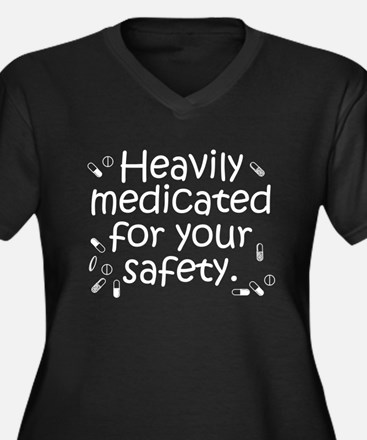 Heavily Medicated Women's Plus Size V-Neck Dark T-