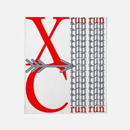 XC Run Red Gray Throw Blanket