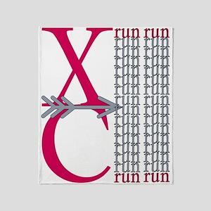 XC Run Grey Scarlet Throw Blanket