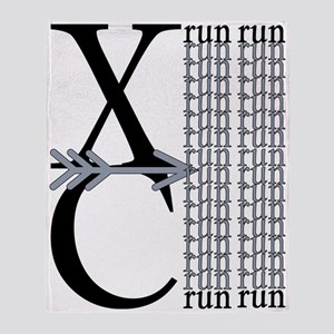 XC Run Black Gray Throw Blanket