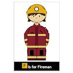 Cute Fireman Poster (Large)