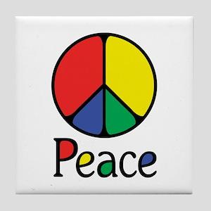 Emphatic Peace Colours Tile Coaster