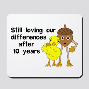 10th Anniversary Funny Chick and Nut Mousepad