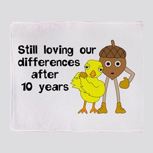 10th Anniversary Funny Chick and Nut Throw Blanket