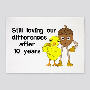 10th Anniversary Funny Chick and Nu 5'x7'Area Rug