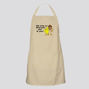 10th Anniversary Funny Chick and Nut Light Apron