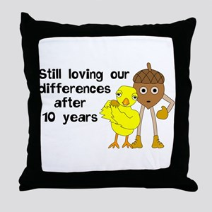 10th Anniversary Funny Chick and Nut Throw Pillow