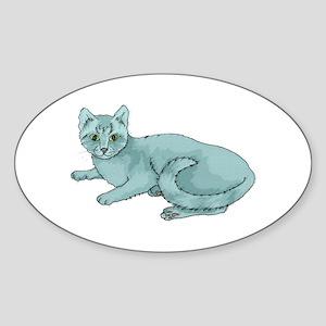 Russian Blue Cat Oval Sticker