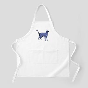 Russian Blue Cat Portrait BBQ Apron