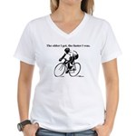 The older I get...Cycling Women's V-Neck T-Shirt