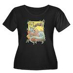 Dragon Reader Women's Plus Size Scoop Neck Dark T-