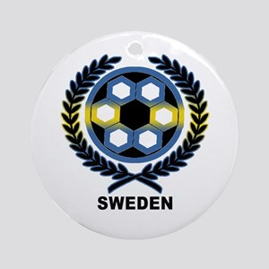 Sweden World Cup Soccer Wreath Ornament (Round)