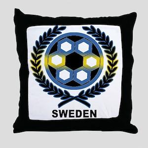 Sweden World Cup Soccer Wreath Throw Pillow
