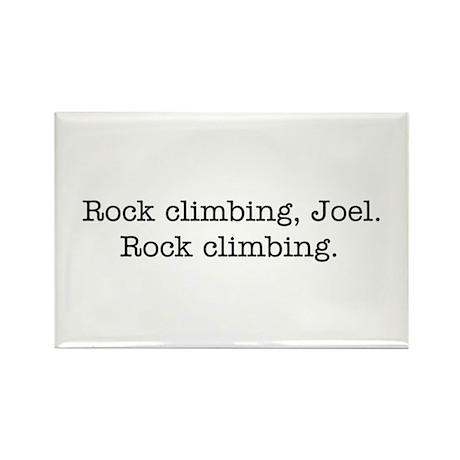Rock climbing, Joel. Rectangle Magnet