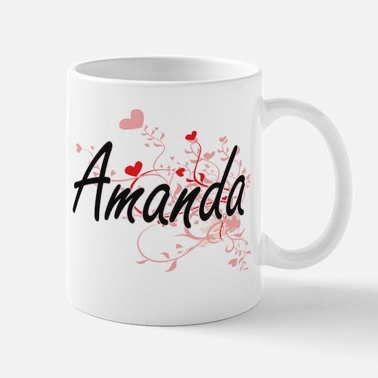 Amanda Artistic Name Design with Hearts Mugs