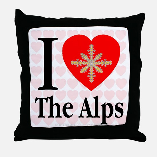 I Love The Alps Golden Snowfl Throw Pillow
