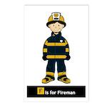Cute Fireman Postcard (Pk of 8)