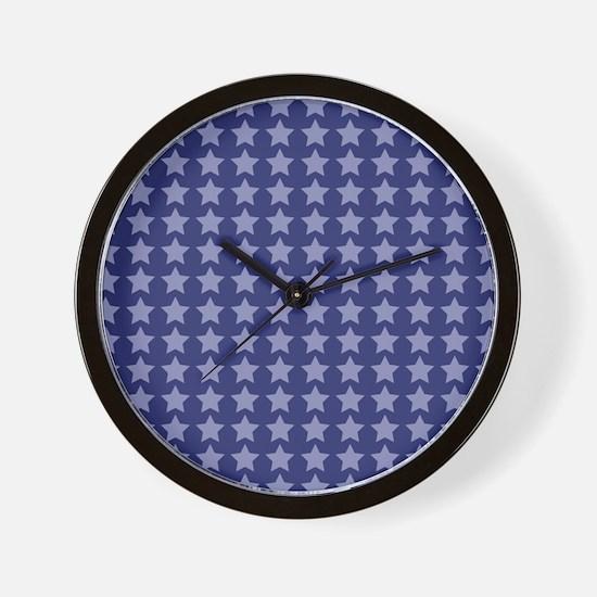 Blue Stars Pattern Wall Clock