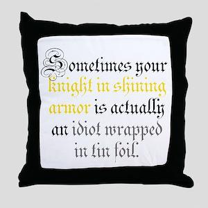 Knight in Tin Foil Throw Pillow