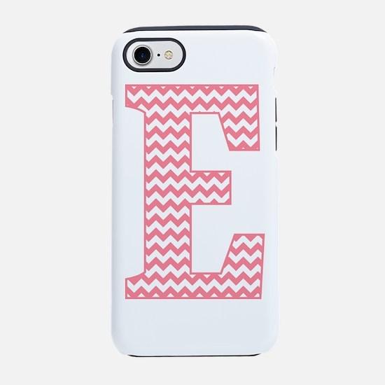 Pink Chevron Letter E Monogram iPhone 7 Tough Case