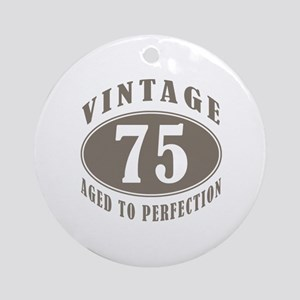 75th Vintage Brown Ornament (Round)