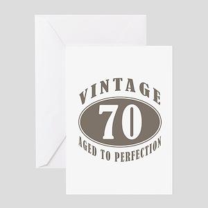 70th Vintage Brown Greeting Card