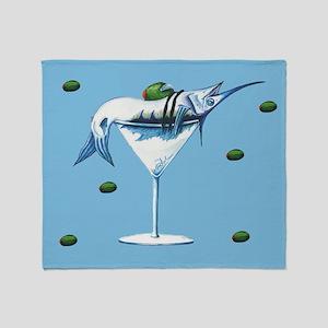 Marlin Martini in blue Throw Blanket