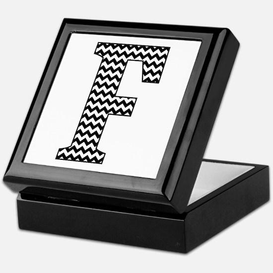 Black and White Chevron Letter F Monogram Keepsake