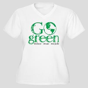 Go Green Women's Plus Size V-Neck T-Shirt