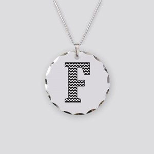 Black and White Chevron Letter F Monogram Necklace