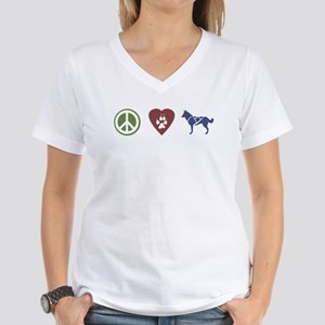 Peace, Love & Sled Dogs Women's V-Neck T-Shirt