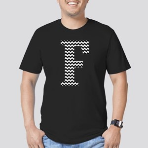 Black and White Chevron Letter F Monogram T-Shirt