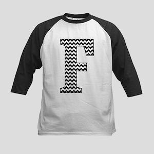 Black and White Chevron Letter F Monogram Baseball
