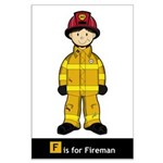 Cute Fireman Large Poster