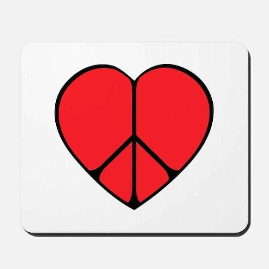 Peace Sign Heart Mousepad