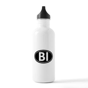 BI Black Euro Oval Stainless Water Bottle 1.0L
