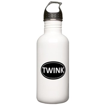 TWINK Black Euro Oval Stainless Water Bottle 1.0L