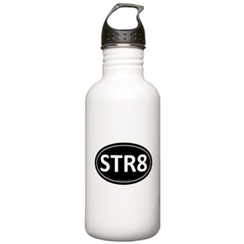 STR8 Black Euro Oval Stainless Water Bottle 1.0L