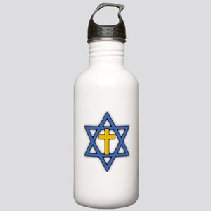 Star of David with Cross Stainless Water Bottle 1.