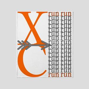 XC Run Orange Grey Throw Blanket