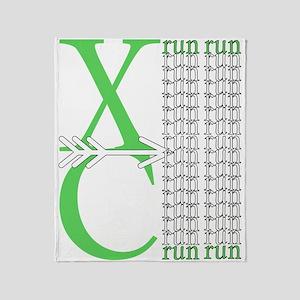 XC Run Light Green White Throw Blanket