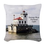 Oswego West Pierhead Light Woven Throw Pillow