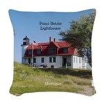 Point Betsie Lighthouse Woven Throw Pillow